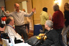 Bill Henning of BCIL, Charles Carr, MRC Commissioner and Christine Griffin of Disability Law Center