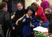 Karen Dempsey, Chair of the Framingham Disability Commission, arrives with her two boys, Will and Joe