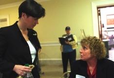 Debbie talks to Rep. Carolyn Dykema.