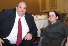 Joe Bellil, MWCIL Board, and VP of Easter Seals, with Colleen Flanagan of Easter Seals