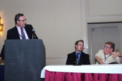 """Andy Imparato, from Senator Tom Harkins staff, gave the opening presentation on the """"Federal Perspective on Employment of People with Disabilities"""", with Jim Clark and Paul Spooner"""