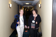 Jini, with Rose, from MWCIL checks into the hotel