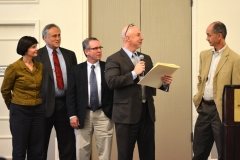 State Reps Carolyn Dykema , Chris Walsh, Jeff Roy and Tom Sannicandro present Bill Henning with a citation