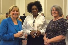 State Senator Karen Spilka, Kay and Pat from MWCIL (l-r)