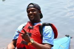 man ready to kayak
