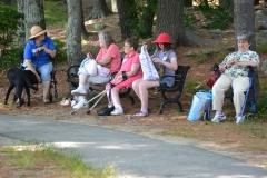 women relaxing in the shade