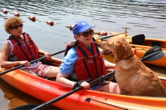 Debbie, Jini and Rue get ready to kayak