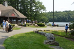 view of the pond and visitor center