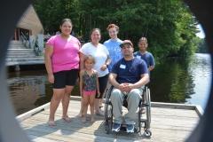 family on dock