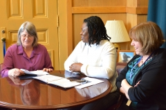 Pat and Kay (MWCIL talk to Mary Anne Padien from Senator Karen Spilka's office