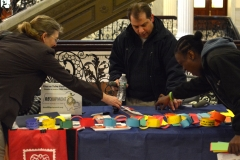 Easter Seals table with the chain - the chain has messages of how the ADA has affected each person
