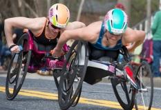 Women's wheelchairs, front to back: Susannah Scaroni, 3rd place (1:33:17), Illinois Amanda McGrory, 2nd place (1:33:13), Illinois