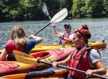 Kayla, Mikaela and Lou kayaking