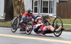 (r-l)Tom Davis (H41) from Indiana 1:01:22, Alfredo De Los Santos (H6) from NY 1:02:48