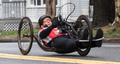 Hand cyclist with no visible number