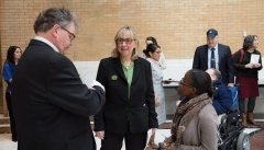 Senate President Karen Spilka talking to Steve Higgins (IA) and Jennifer Lee (STAVROS and MASILC)