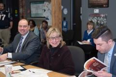 Senators Jamie Eldridge, Senate President Karen Spilka and Representative Jack Lewis