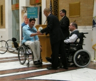 Ernst van Dyk at the State House with MRC Commisstioner Charlie Carr