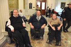 MRC CommissionerCharlie Carr, Joe Bellil from Easter Seals, Paul Spooner, ED at MWCIL