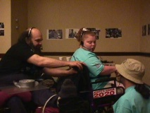 Radio Checks -  Roland hooks up Shona Eakin with a radio at ADAPT action