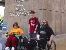 ADAPT action 1999; with Kathleen and Daniel Kleinmann - In front of the Washington DC office of US Dept of Housing and Urban Development