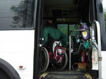 Paul Spooner entering Roland's bus at mwcil 2006