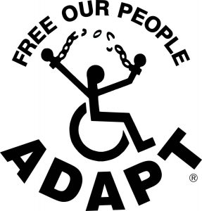 adapt logo - free our people. person in wheelchair breaking chains