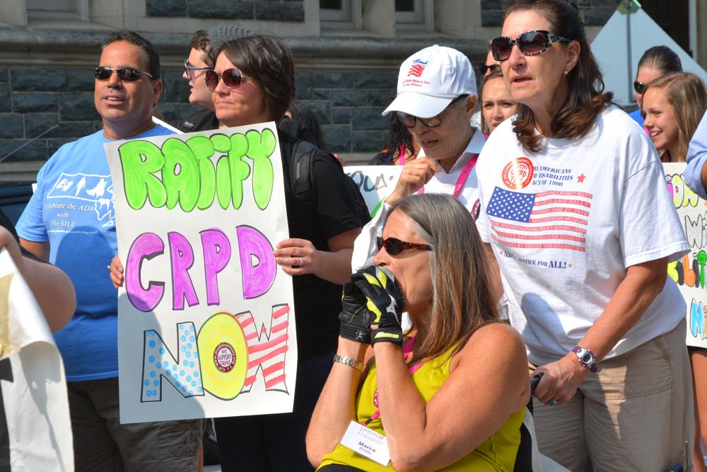 Marca Bristo protesting at 2014 NCIL March
