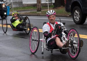 Dennis Moran from Framingham racing in the 2019 Boston Marathon